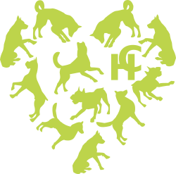 Logo in full colour, all dogs shown