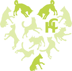 Hounds connect logo with only three of the dogs highlighted in the heart shape and also the HC initials