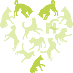 Hounds connect logo with only three of the dogs highlighted in the heart shape